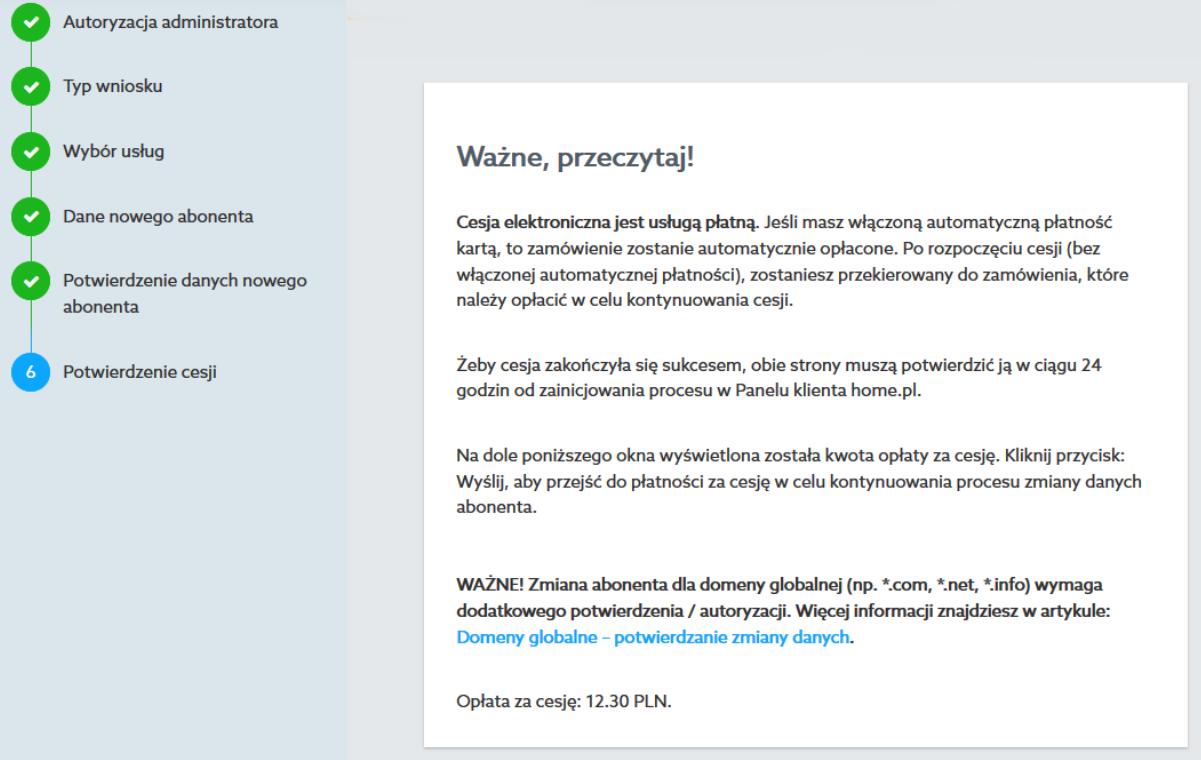 Ostatni ekran cesji elektronicznej w Panelu klienta home.pl.