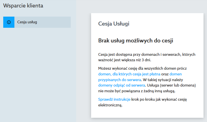Panel klienta home.pl - Wsparcie klienta - Cesja usług - Przykładowy widok komunikatu - Brak usług możliwych do cesji