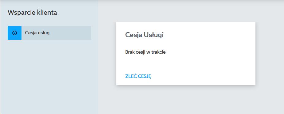 Panel Klienta home.pl - Wsparcie klienta - Cesja usług - Kliknij przycisk Zleć cesję