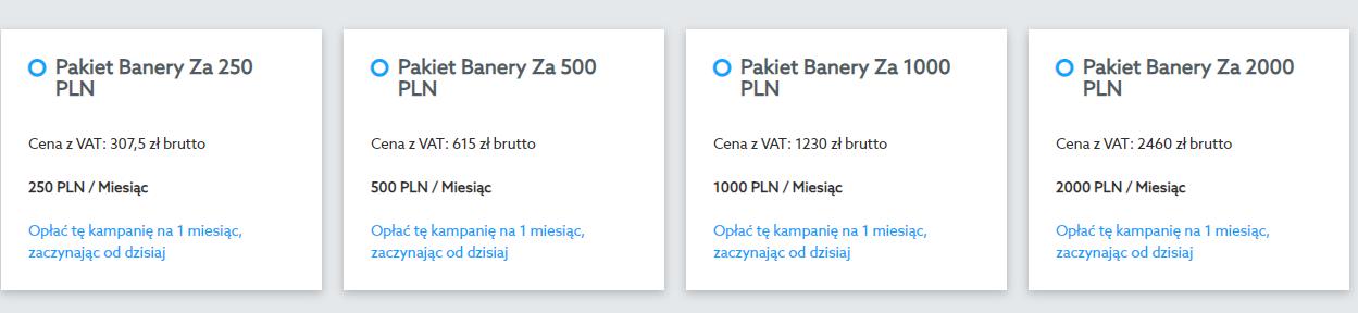 Panel klienta home.pl - eKampanie Google - Kampanie banerowe - Strona WWW - Rozpocznij - Dostosuj wygląd reklamy - Zakup - Wybierz pakiet cenowy dla kampanii banerowej