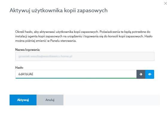 Panel klienta home.pl - Acronis Backup - Moja kopia zapasowa - Przypisz usługę - Aktywuj użytkownika kopii zapasowych - Wpisz nazwę logowania i nadaj hasło dostępu