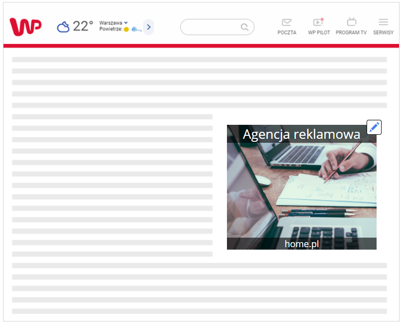 Strona WWW - Przykładowy widok podglądu Twojej reklamy na stronie WWW