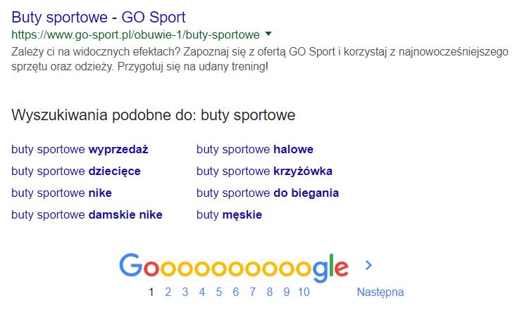 Wyszukiwarka Google - Słowo kluczowe - Pokrewne wyszukiwania - Przykładowy widok podobnych wyszukiwań dla wpisanego słowa kluczowego