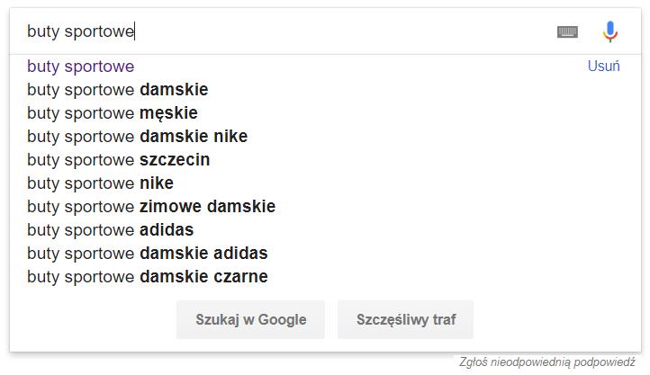 Wyszukiwarka Google - Słowo kluczowe - Podpowiedzi Google - Przykładowy widok sugestii dla słowa kluczowego