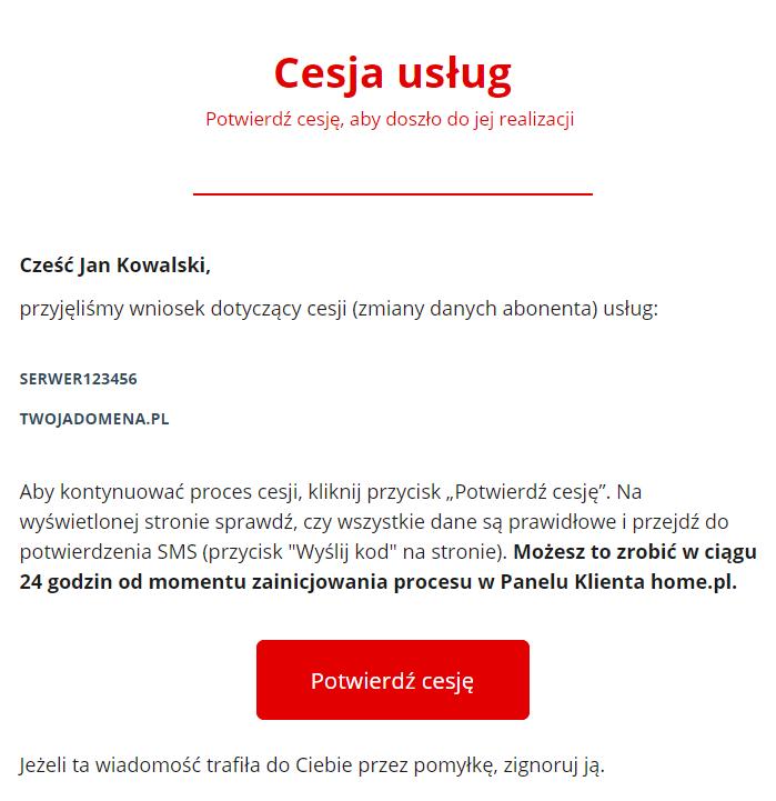 Przykładowa wiadomość e-mail potwierdzająca wykonanie cesji - Kliknij przycisk Powiedź cesję