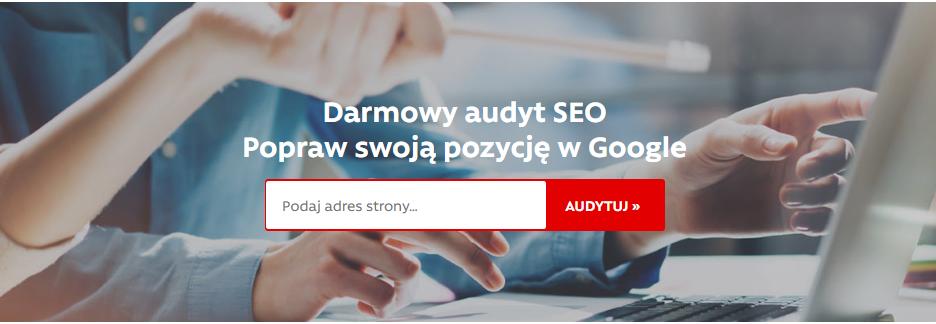 Audyt SEO - Aby rozpocząć audyt SEO, wpisz adres strony WWW i kliknij przycisk Audytuj