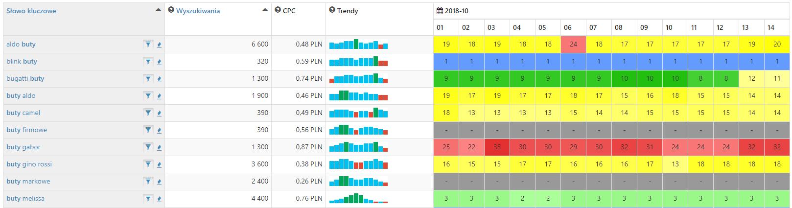 SEMSTORM - Przykładowe wyniki kampanii po kilku godzinach od jej utworzenia - Sprawdź pełny raport następnego dnia