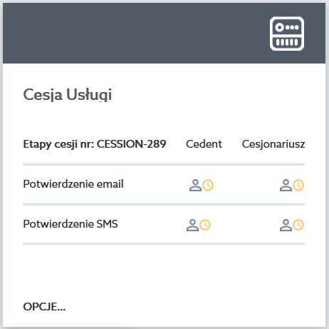 Panel klienta home.pl - Wsparcie klienta - Cesja usług - Przykładowy widok cesji usługi, która czeka na potwierdzenie email i SMS