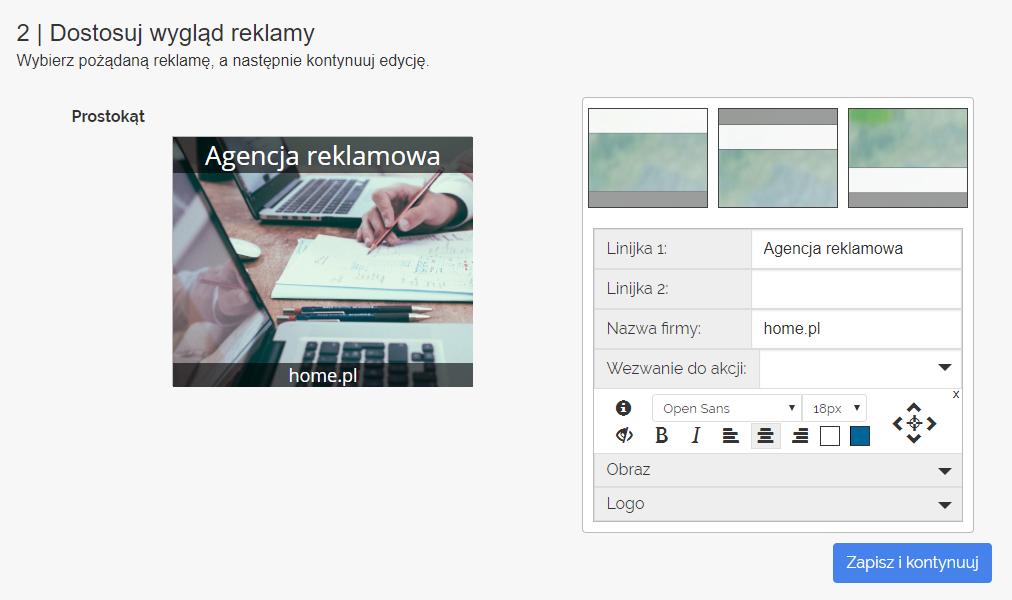 Panel klienta home.pl - eKampanie Google - Kampanie banerowe - Strona WWW - Rozpocznij - Dostosuj wygląd reklamy - Określ trzy różne rozmiary banerów