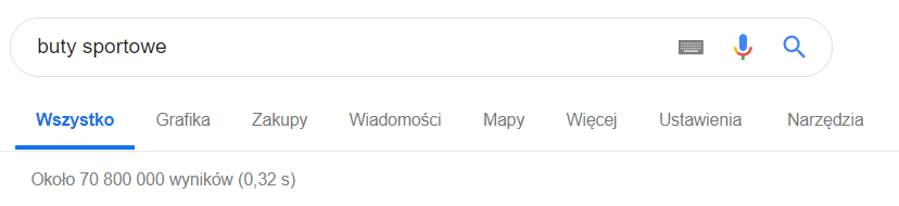Wyszukiwarka Google - Słowo kluczowe - Liczba zaindeksowanych stron - Przykładowy widok 70 800 000 wyników