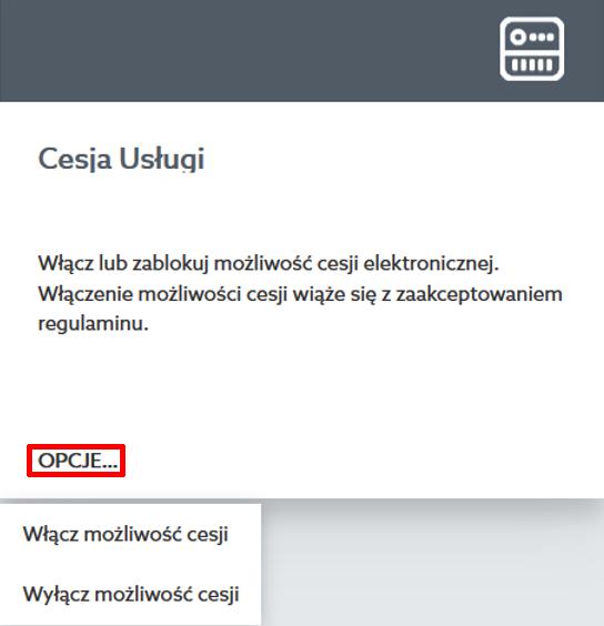 Panel klienta home.pl - Wsparcie klienta - Cesja usług - Opcje - Wybierz opcję Włącz możliwość Cesji