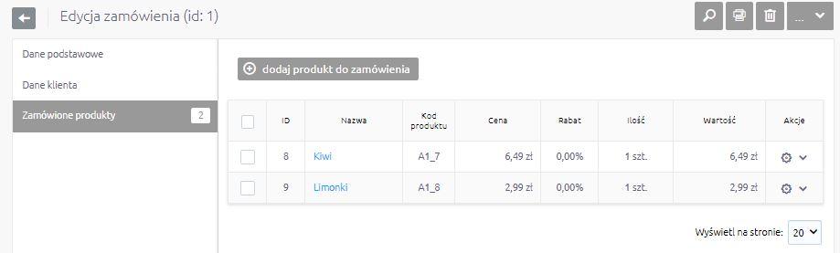 eSklep - Sprzedaż - Zamówienia - Wybrane zamówienie - Edytuj - Przejdź do zakładki Zamówione produkty