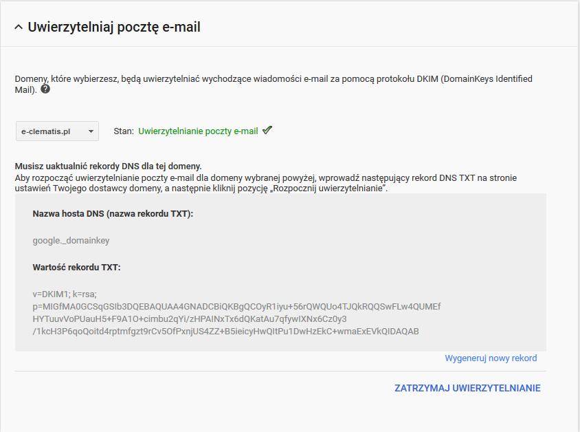 Dodawanie rekordu DKIM dla domeny połączonej z G Suite