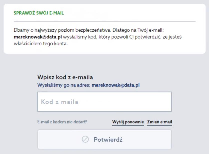 Panel klienta home.pl - Okno logowania - Sprawdź swój e-mail - Wpisz kod z dostarczonej wiadomości e-mail