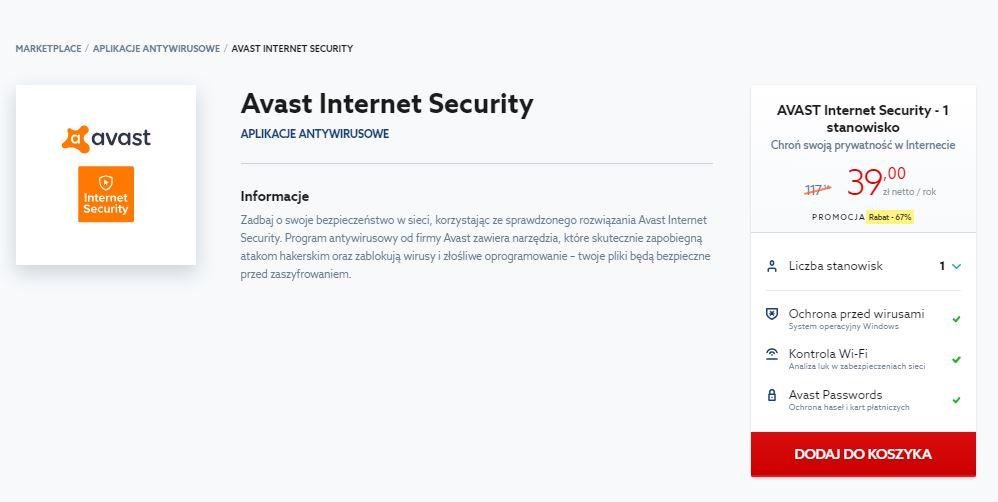 Strona główna home.pl - Aplikacje - Aplikacje antywirusowe - Avast Internet Security - Określ liczbę stanowisk i kliknij przycisk Dodaj do koszyka