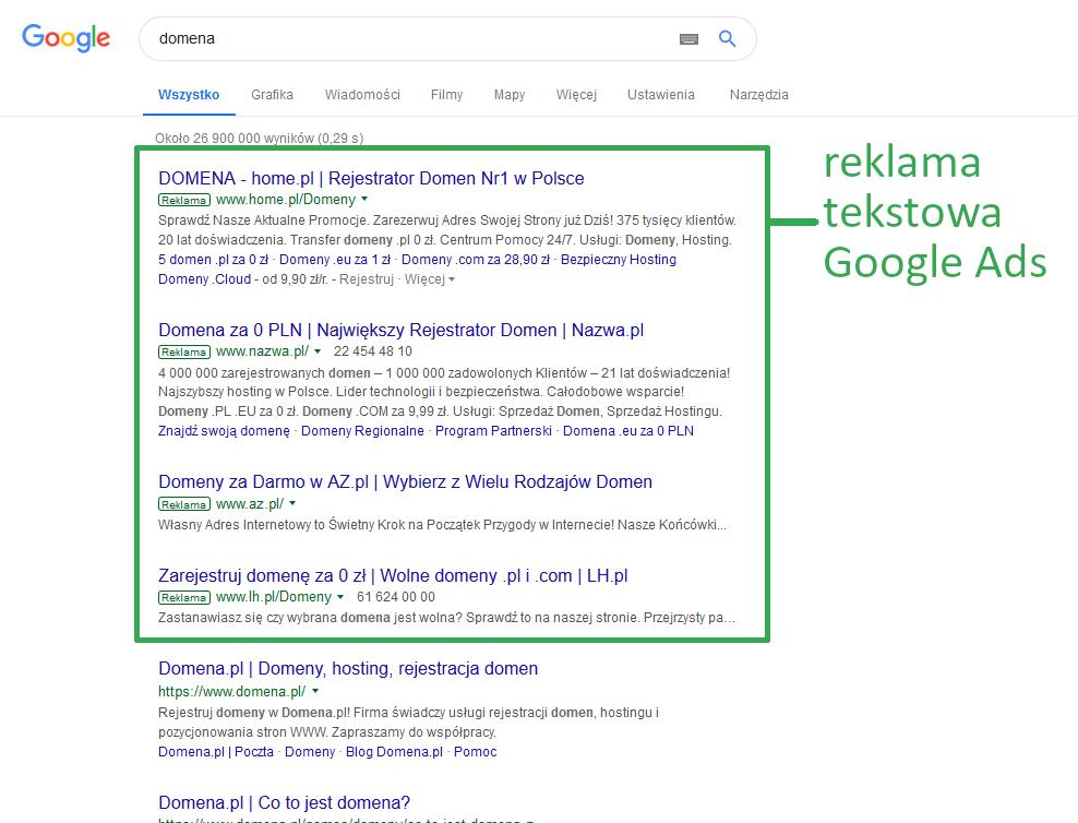 Przykładowa reklama tekstowa Google Ads w wynikach wyszukiwarki Google