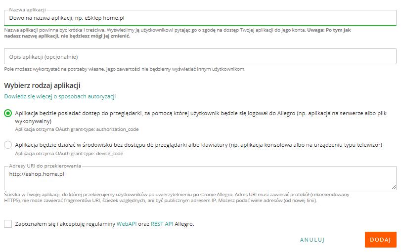 Allegro Developer Apps - Zarejestruj nową aplikację - Wybierz pierwszy rodzaj aplikacji, z dostępem do przeglądarki
