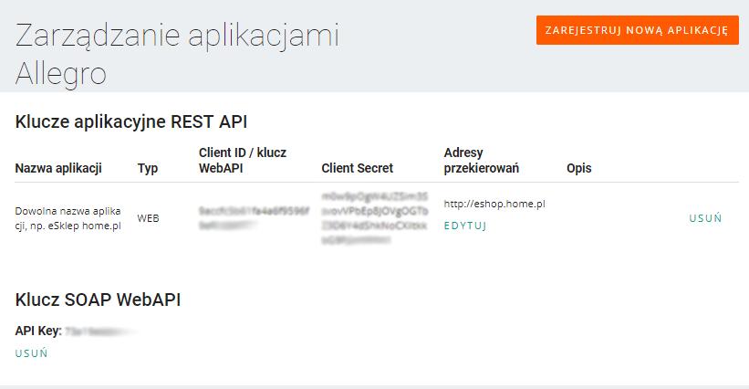 Allegro Developer Apps - Klucze aplikacyjne REST API - Skopiuj nowe klucze niezbędne do konfiguracji integracji Allegro w sklepie internetowym eSklep