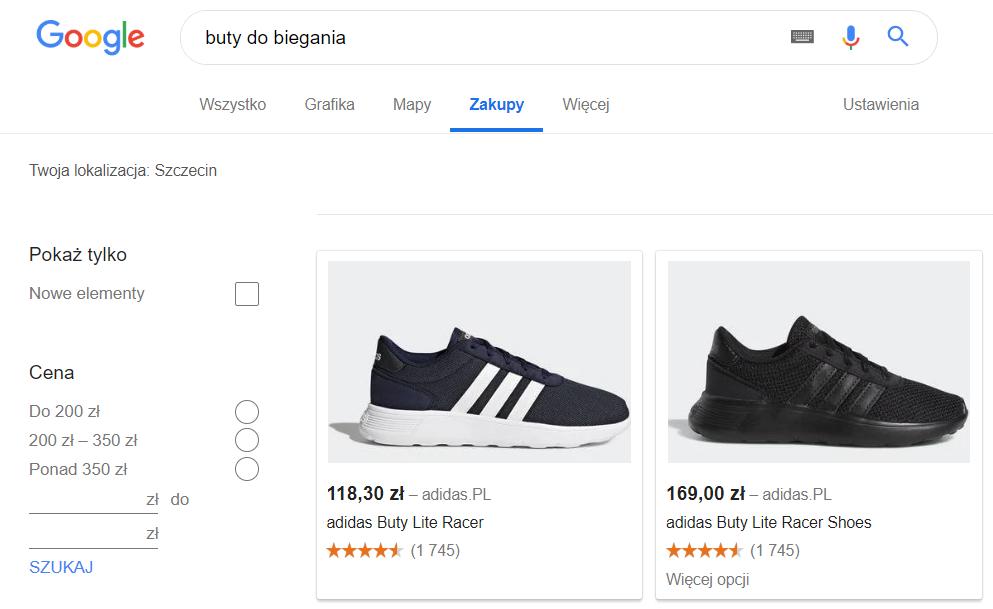 Zakupy Google - Przykładowe reklamy w zakładce Zakupy w wyszukiwarce Google