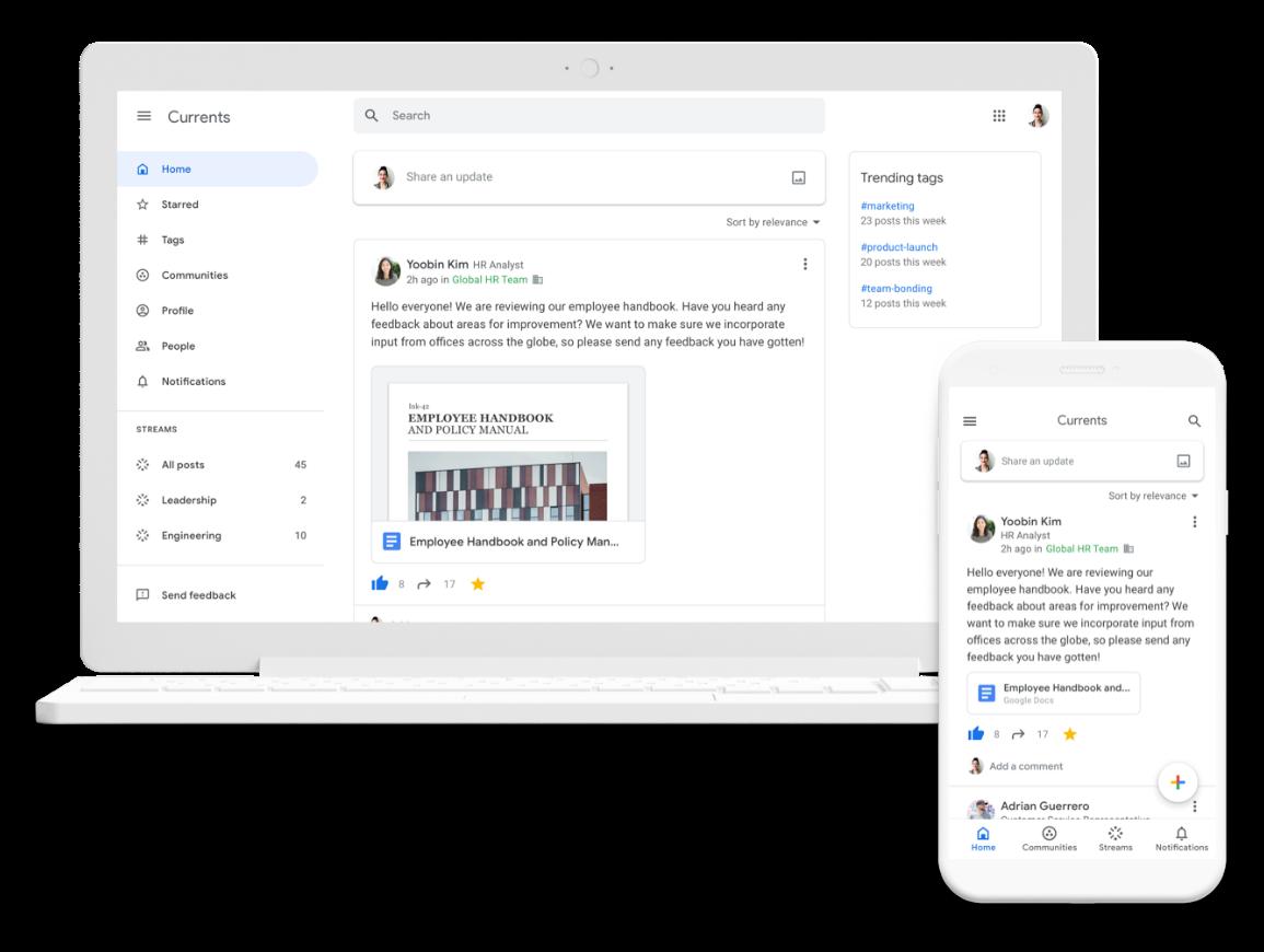 Currents – noua aplicație din G Suite va înlocui Google+