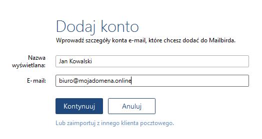 Konfiguracja poczty w programie Mailbird