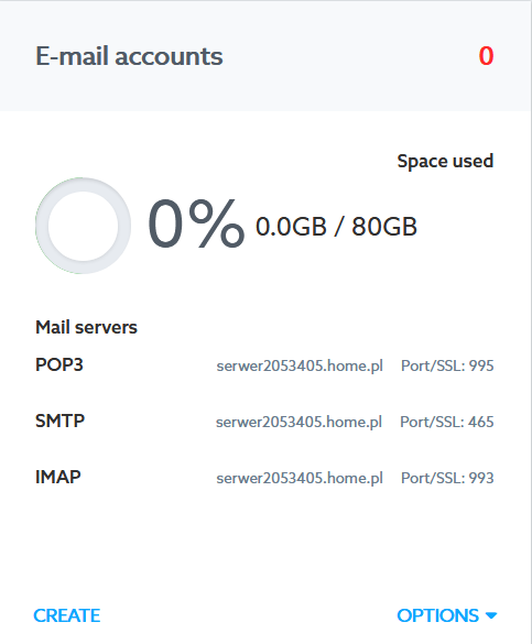 Customer Panel - WWW services - Server - E-mail Accounts - Find information about the addresses: IMAP, POP3 and SMTP