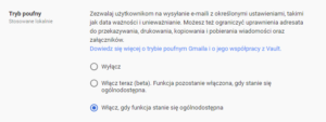 Tryb poufny Gmail G Suite