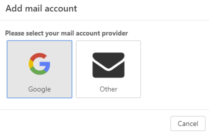 Webmail - Add mail account - Choose Google Account