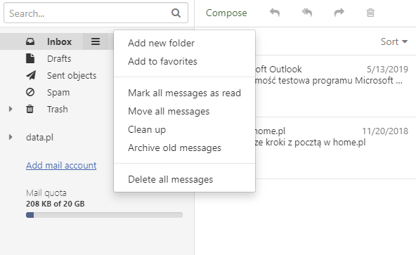 Mail home.pl - Click the action menu next to the folder, then Add new folder