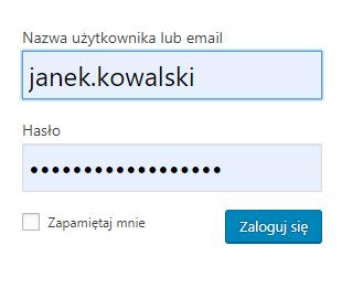 Panel administracyjny WordPress - Okno logowania - Podaj ustalony wcześniej login i hasło