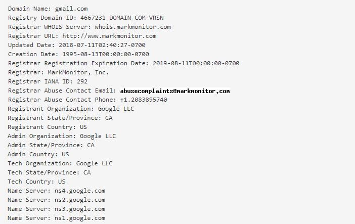 Serwis who.is - Podaj nazwę domeny - Przykładowe wyniki wyszukiwania dla wpisanej domeny