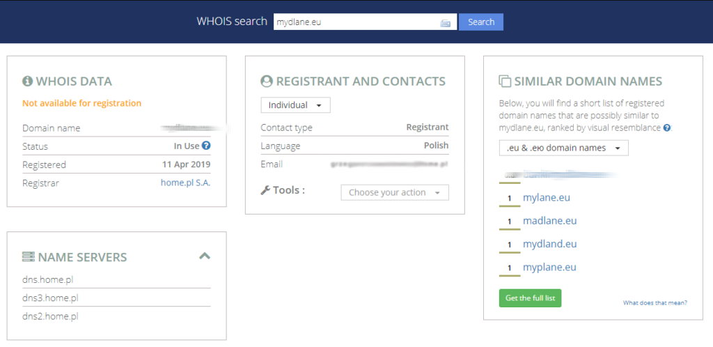 EURid - WHOIS search - Wpisz nazwę domeny i kliknij przycisk Search