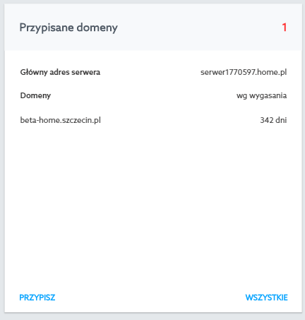 Panel klienta home.pl - Usługi WWW - Przypisane domeny - Kliknij przycisk Wszystkie