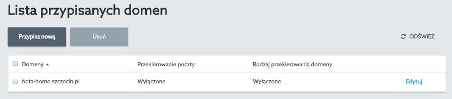 Panel klienta home.pl - Usługi WWW - Przypisane domeny - Wszystkie - Edytuj wybraną domenę
