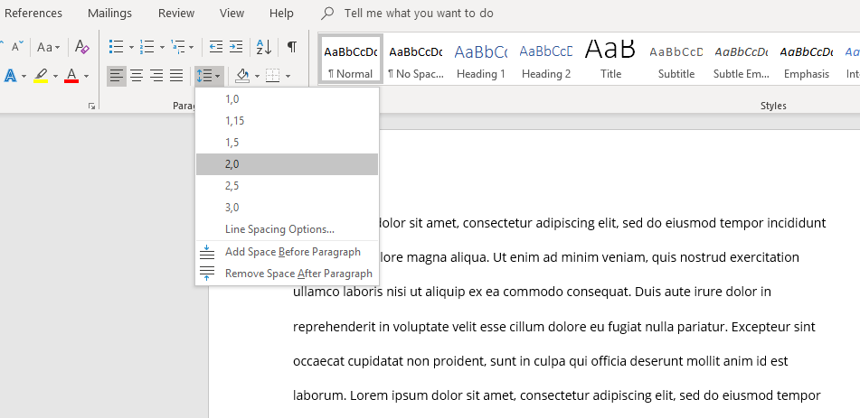 Dopuble-space in Microsoft Word.