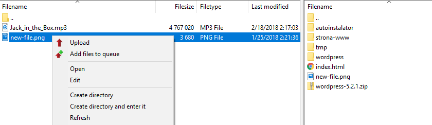 Configuring the FTP connection in FileZilla