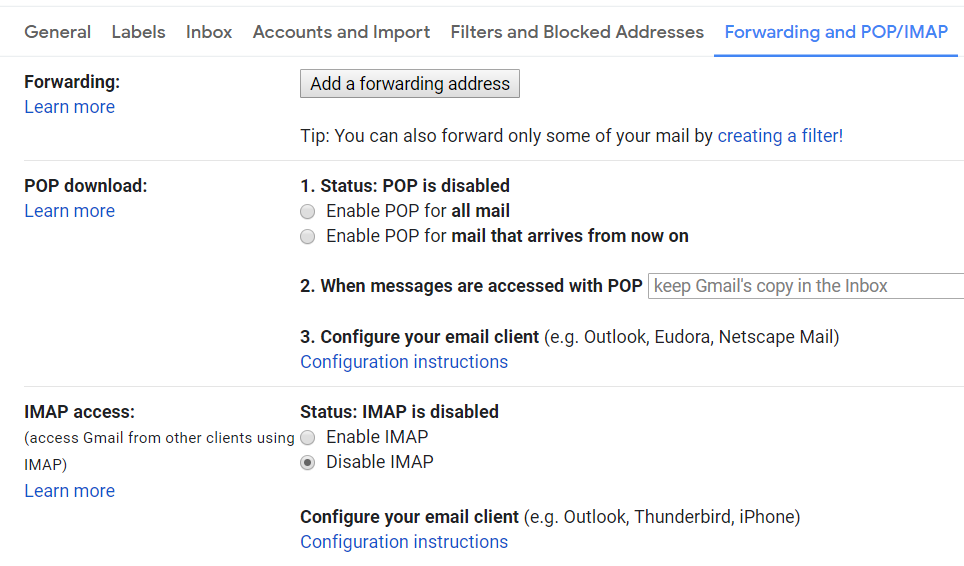 Gmail - Settings - Forwarding and POP / IMAP - Options