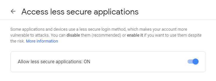Google - Access less secure applications - Enable access for less secure applications