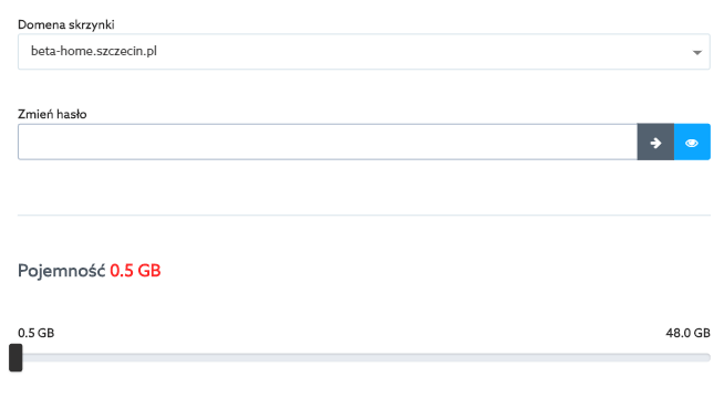 Panel klienta home.pl - Poczta - Skrzynki e-mail - Wybrana skrzynka - W polu Zmień hasło wprowadź ręcznie lub wygeneruj nowe hasło