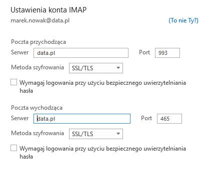 Outlook - Plik - Informacje - Dodaj konto - Połącz - Ustawienia konta IMAP - Uzupełnij informacje o koncie