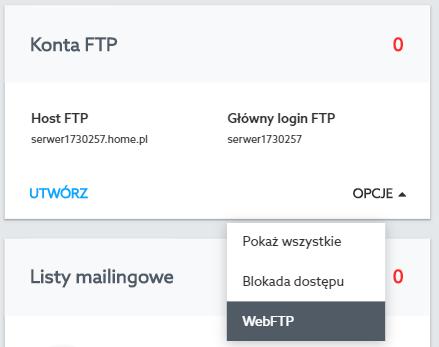 Panel klienta home.pl - Usługi WWW - Konta FTP - Z menu opcji wybierz WebFTP