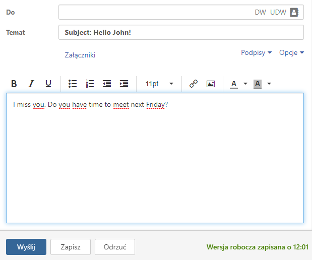 Webmail - Create an email - Click Save to save a working copy
