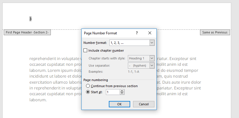Page Number > Format Page Numbers