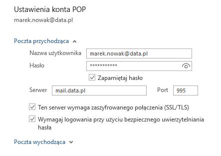 Outlook - Plik - Ustawienia kont - Konta e-mail - Napraw - Opcje zaawansowane - Ustawienia konta POP - Zmień numery portów oraz nazw serwerów pocztowych