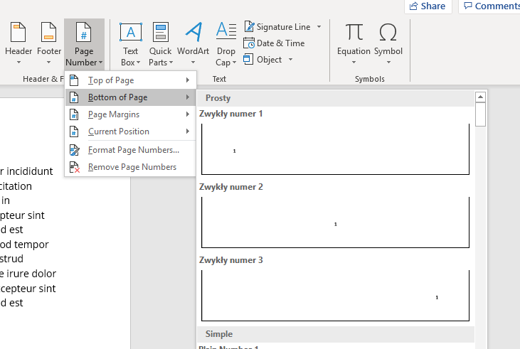 Page number in Microsoft Word