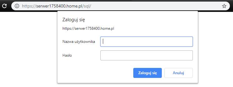 Logowanie do MySQL przez phpMyAdmin na serwerze w home.pl.