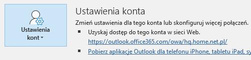 Outlook - Plik - Przejdź do Ustawień kont