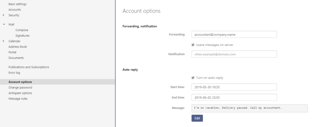 Webmail - Profile - Settings - Go to Account options