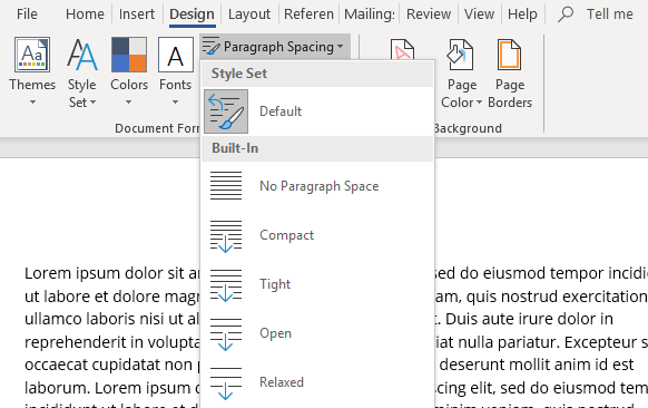 Design > Paragraph Spacing, and choose Double