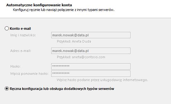 Outlook - Plik - Ustawienia kont - Napraw - Automatyczne konfigurowanie konta - Wybierz ręczną konfigurację konta